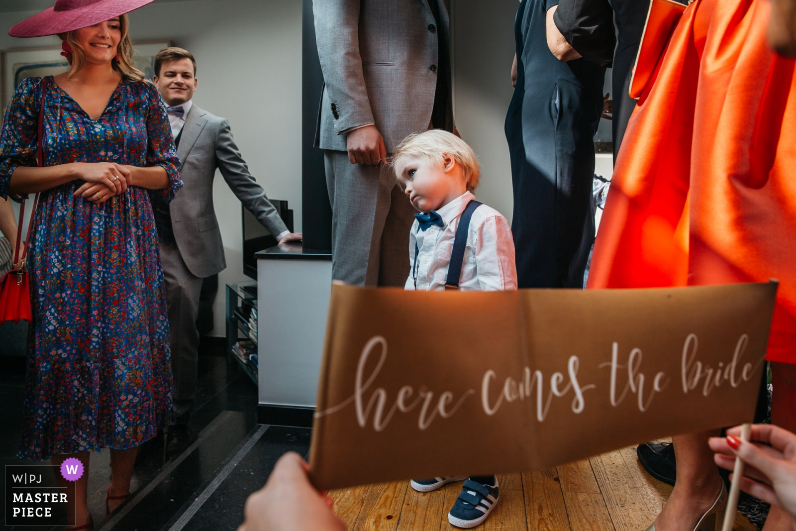 "Little kiddo was ordered to hold a banner ""here comes the bride"" in church, but did not feel like doing so - Antwerpen, Flanders Wedding Photography -  
