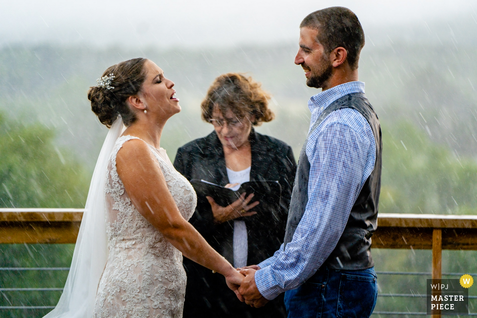 Wedding photo by Bee Two Sweet Photography, bride shouts her vows over the sounds of the pouring rain - Arlington, Virginia Wedding Photography -  | Wolftrap Farm, Gordonsville VA