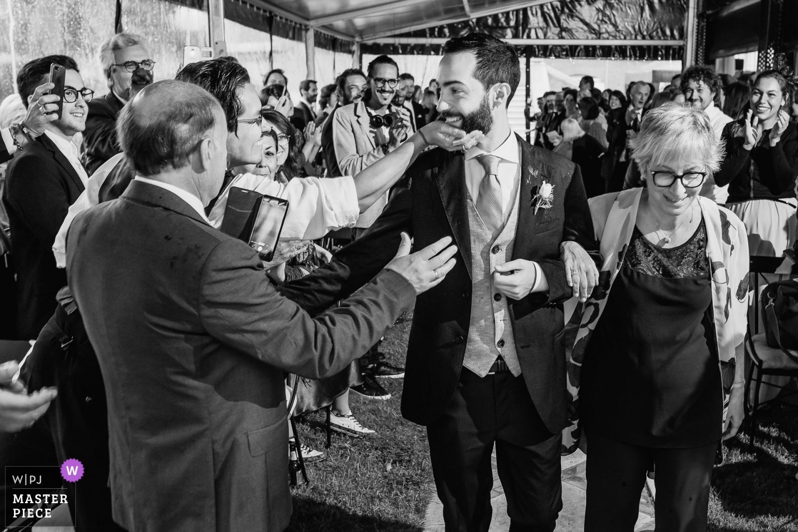 Groom arrives to the ceremony - Madrid, Spain Wedding Photography -    Palacio de Silvela