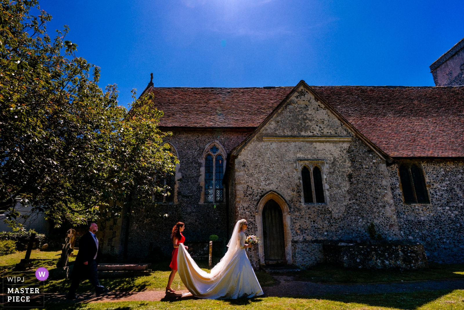 Bride arrives at church for her wedding ceremony - Hertfordshire, England Wedding Photography -  | Barham, Kent, UK