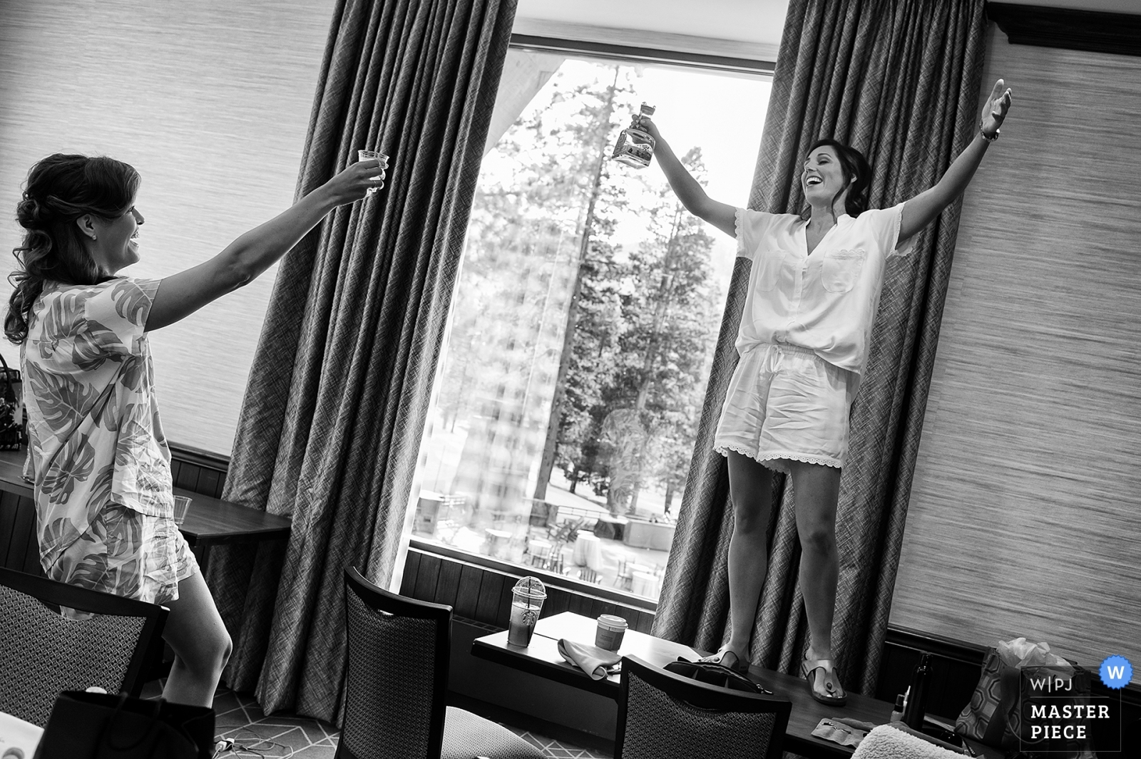 Bride performs a pre-ceremony toast. - Carson City, Nevada Wedding Photography -  | Resort at Squaw Creek, Squaw Valley, CA