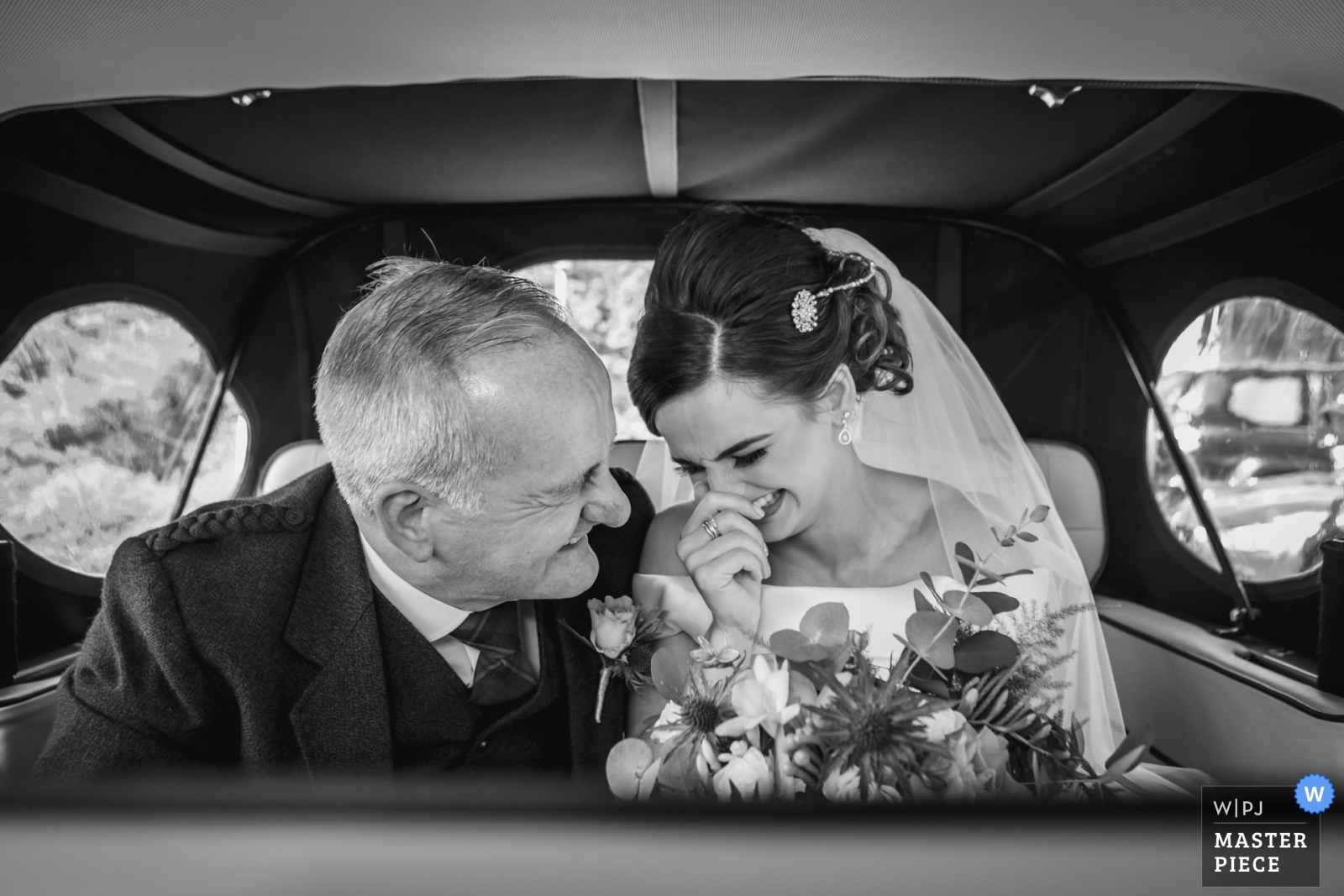 Bride & father arrive in the wedding car. - Stirlingshire, Scotland Wedding Photography -  | Reception Location
