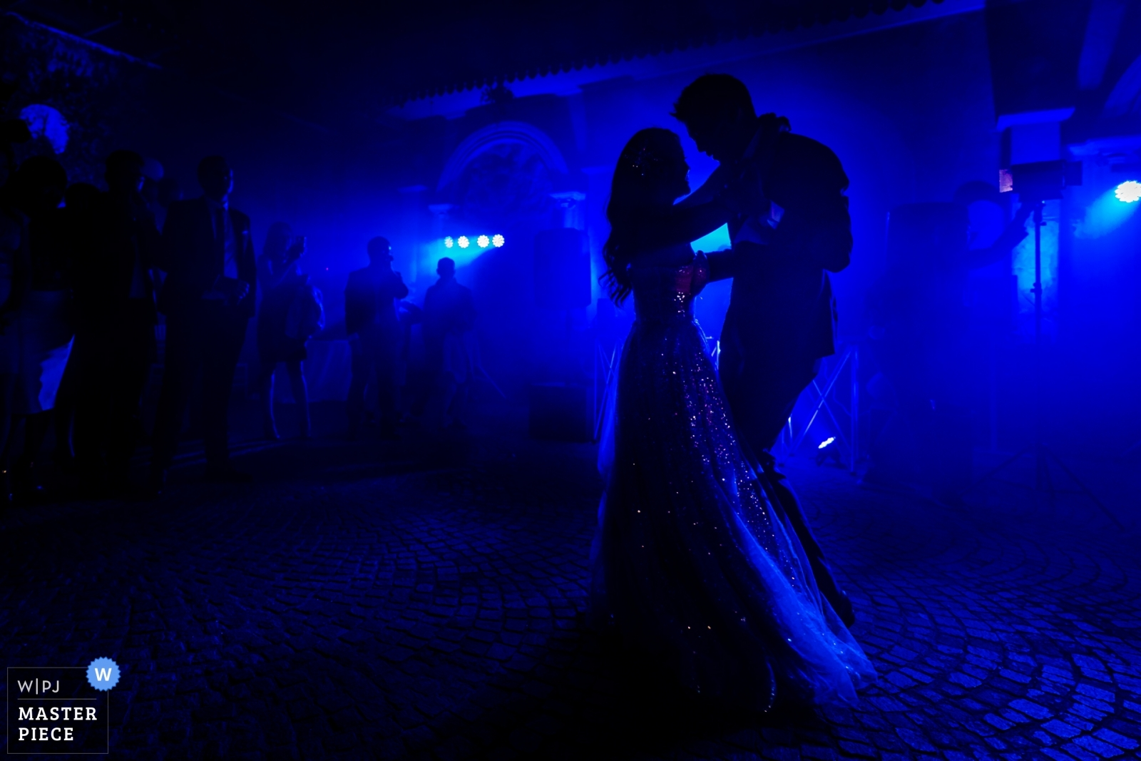 The silhouette of the bride and the groom having their first dance as newly wed. - Taipei, Taiwan Wedding Photography -  | Castello di Torcrescenza Roma Nord, Italy