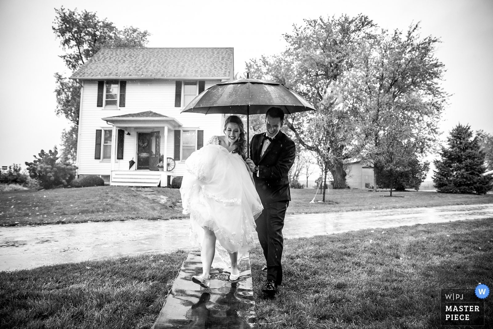 bride and groom try to get in the house - Chicago, Illinois Wedding Photography -  | the maro farm