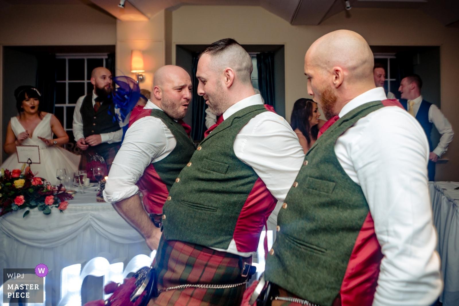 Groomsmen dancing during reception. - Stirlingshire, Scotland Wedding Photography -  | Reception Location