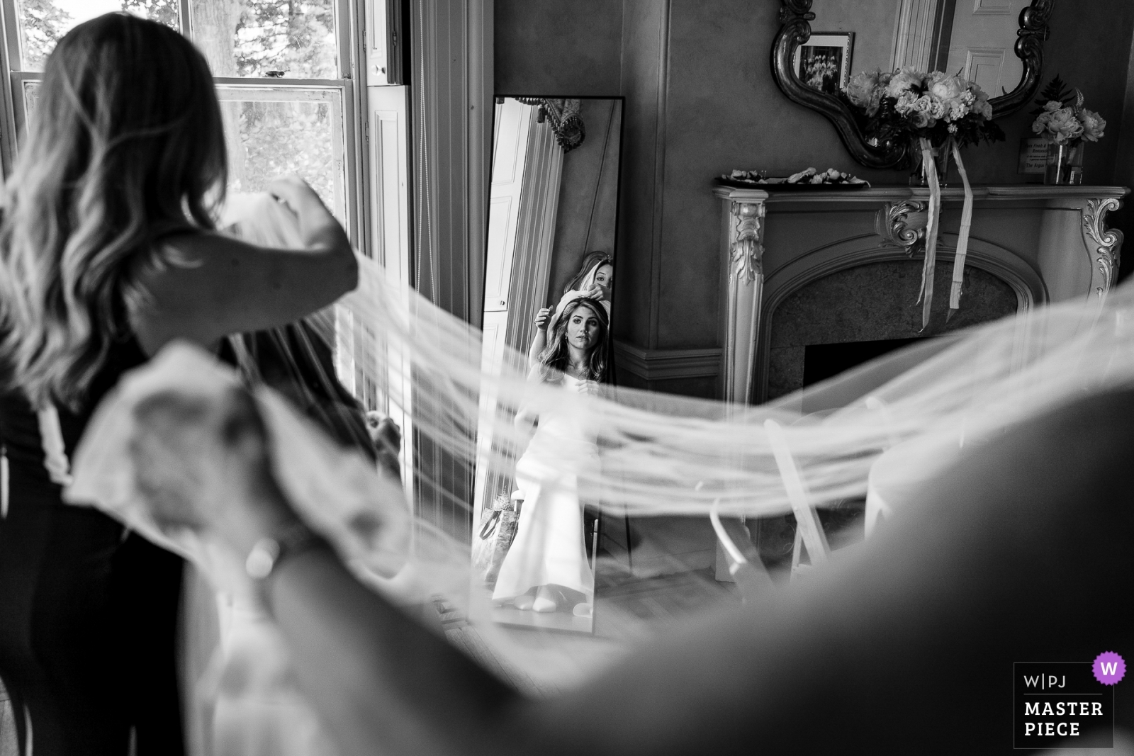 Bride having her veil put on by the MOH and her Mom. - New Jersey, United States Wedding Photography -  | Ceremony Location
