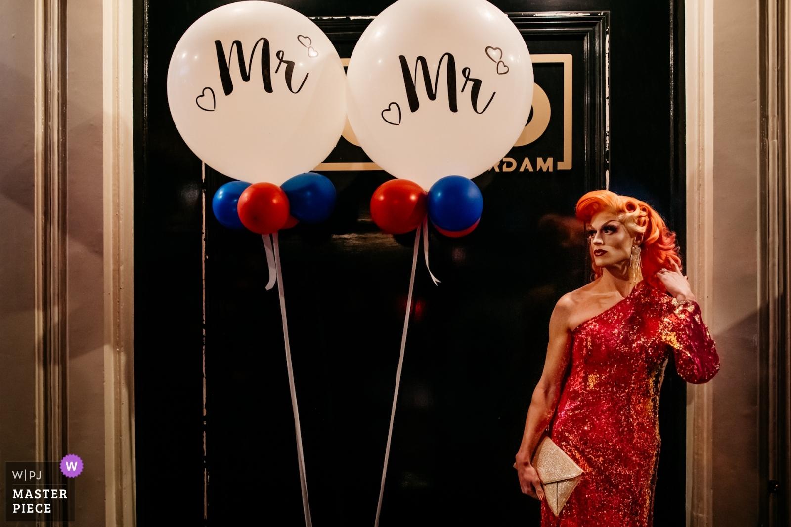 mr & mr balloons and drag queen - Utrecht, Netherlands Wedding Photography -  | reception venue