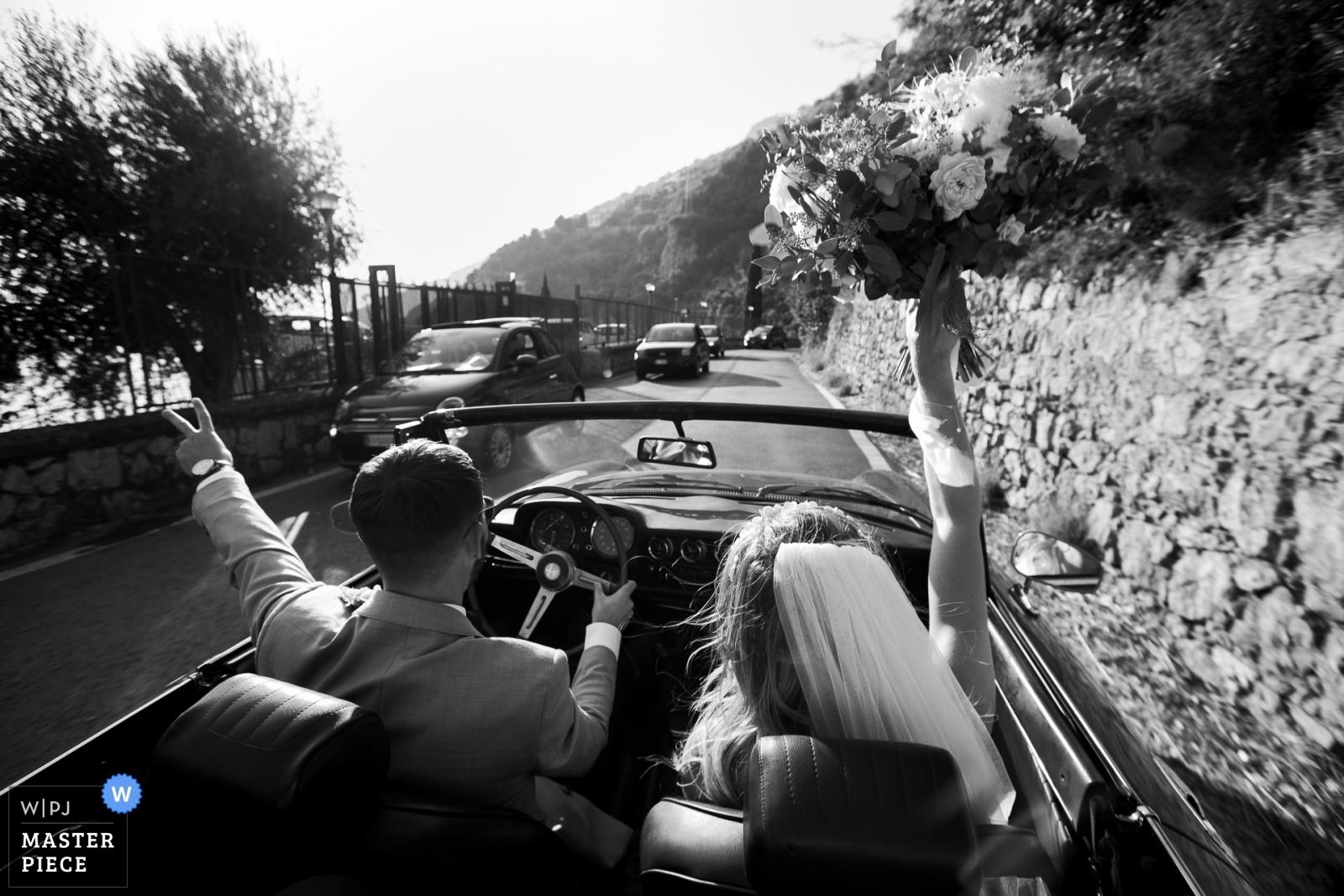 bride and groom on their way to wedding reception - Portofino, Genoa Wedding Photography -  | amalfi coast, italy