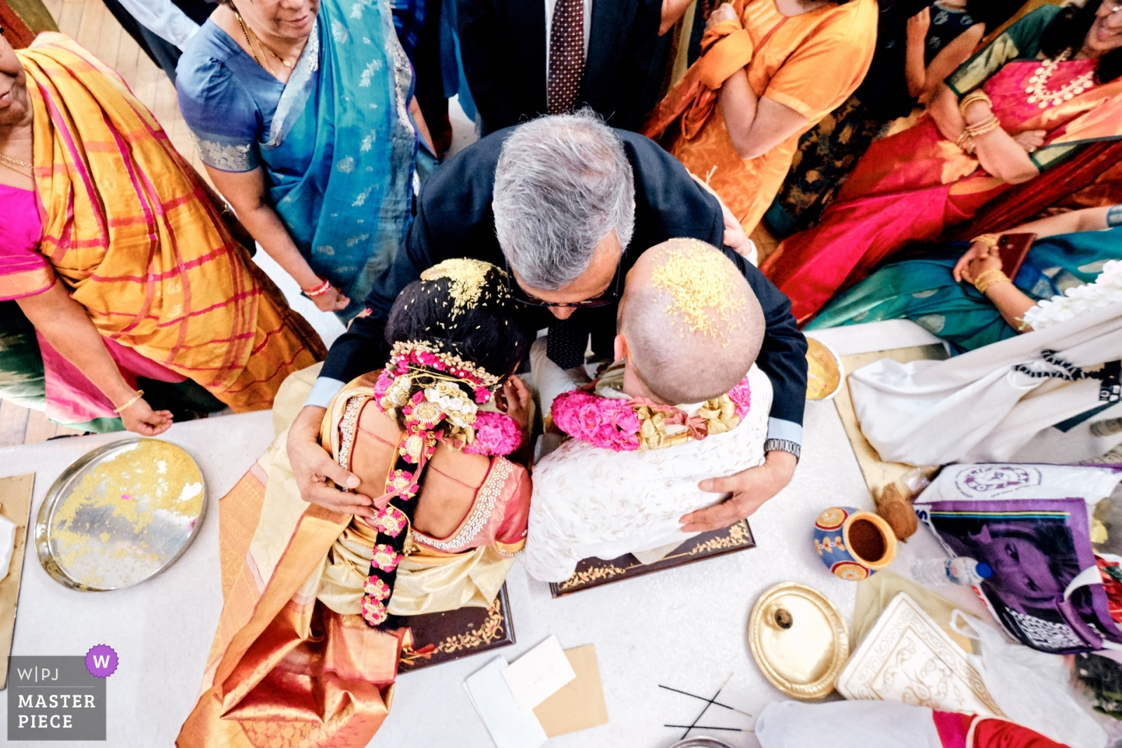 Bride and groom being blessed by guests - West Midlands, England Wedding Photography -  | Tividale Balaji Temple