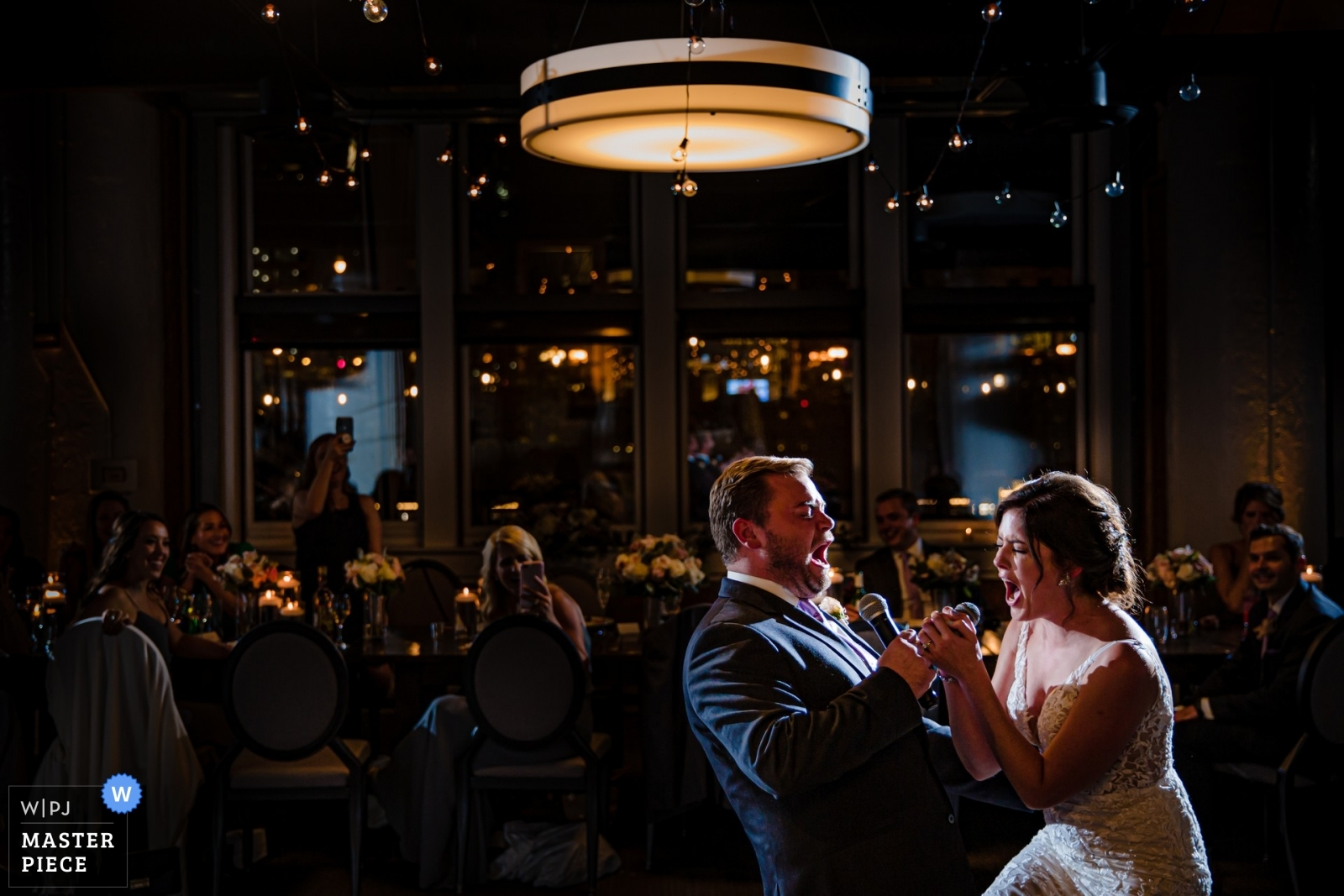 first karaoke - Chicago, Illinois Wedding Photography -  | River Roast, Chicago, IL