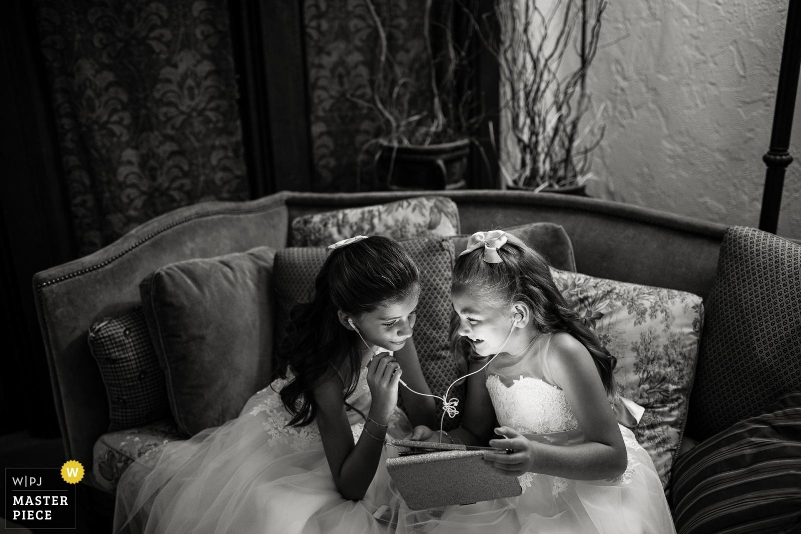 Flower girls before the wedding.  - Denver, Colorado Wedding Photography -    The Villa Parker, Parker, Colorado