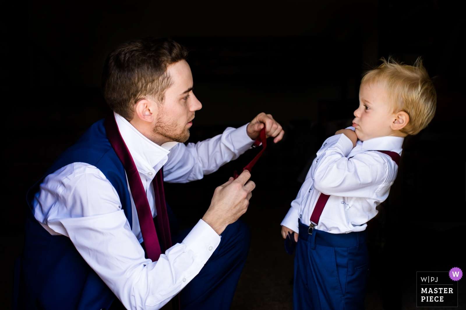 toddler's reaction to dad attempting to put on his tie - Arizona, United States Wedding Photography -  | Family home