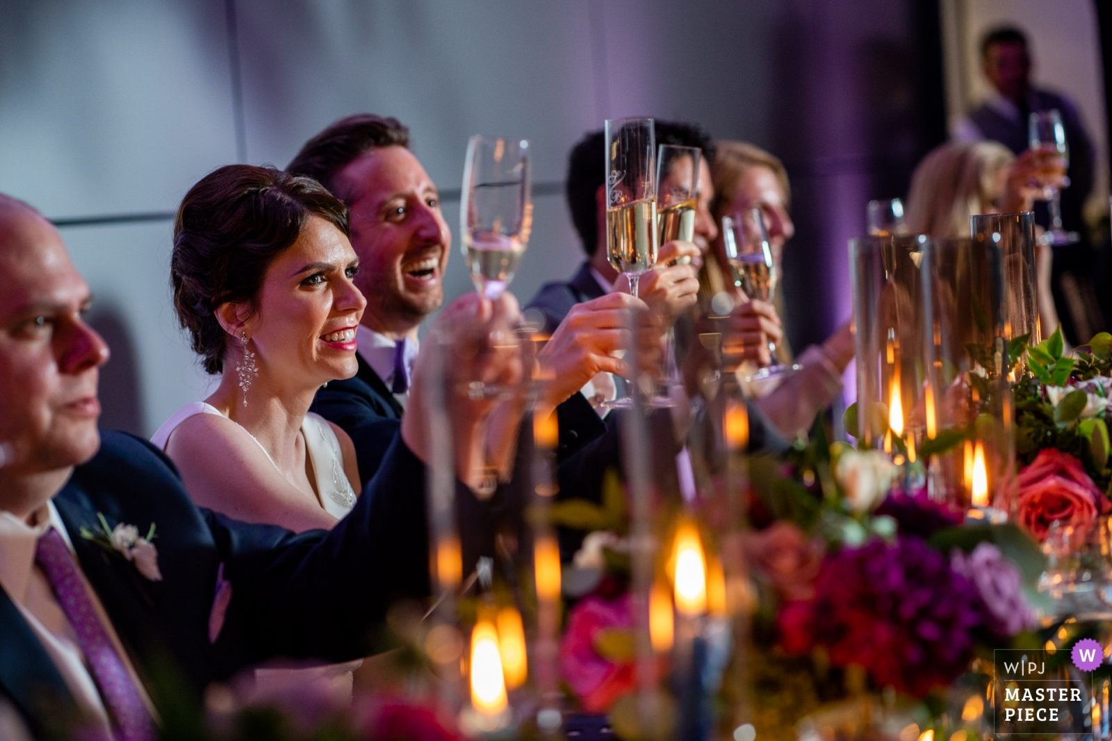 The happy Bride and Groom cheers to their toast - Arlington, Virginia Wedding Photography -  | Spy Museum, Washington DC