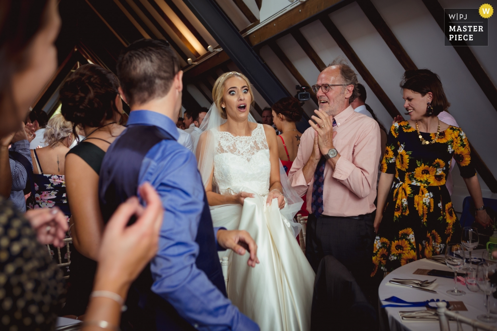 Bride sees life size cut out of herself for the first time upon entering the venue. - Stirlingshire, Scotland Wedding Photography -  | Reception Venue