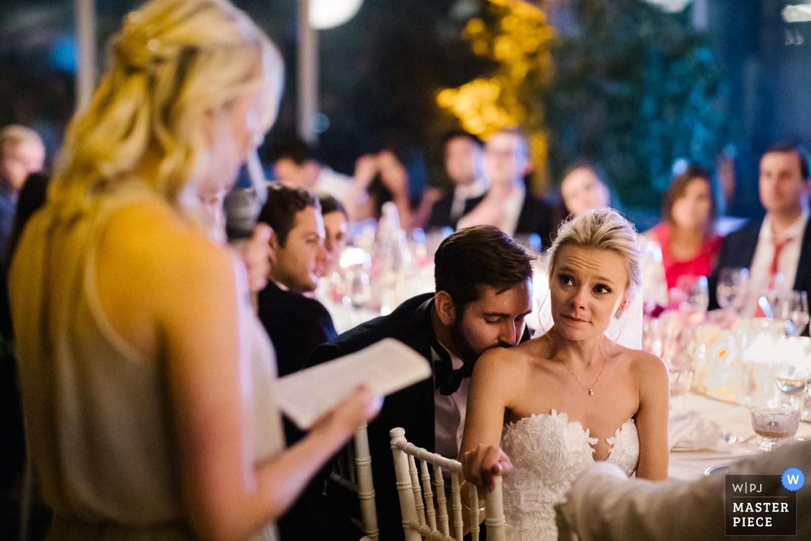 Bride and groom during the sisters' speech - Portofino, Genoa Wedding Photography -  | Villa La Vedetta, Florence