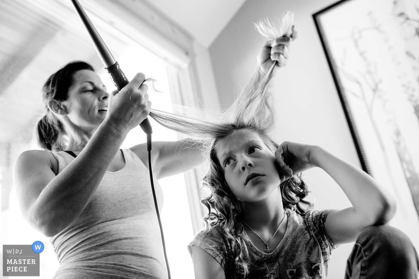 Flower girl doesn't want to get her hair done.  - Colorado, United States Wedding Photography -  | Bridal prep.