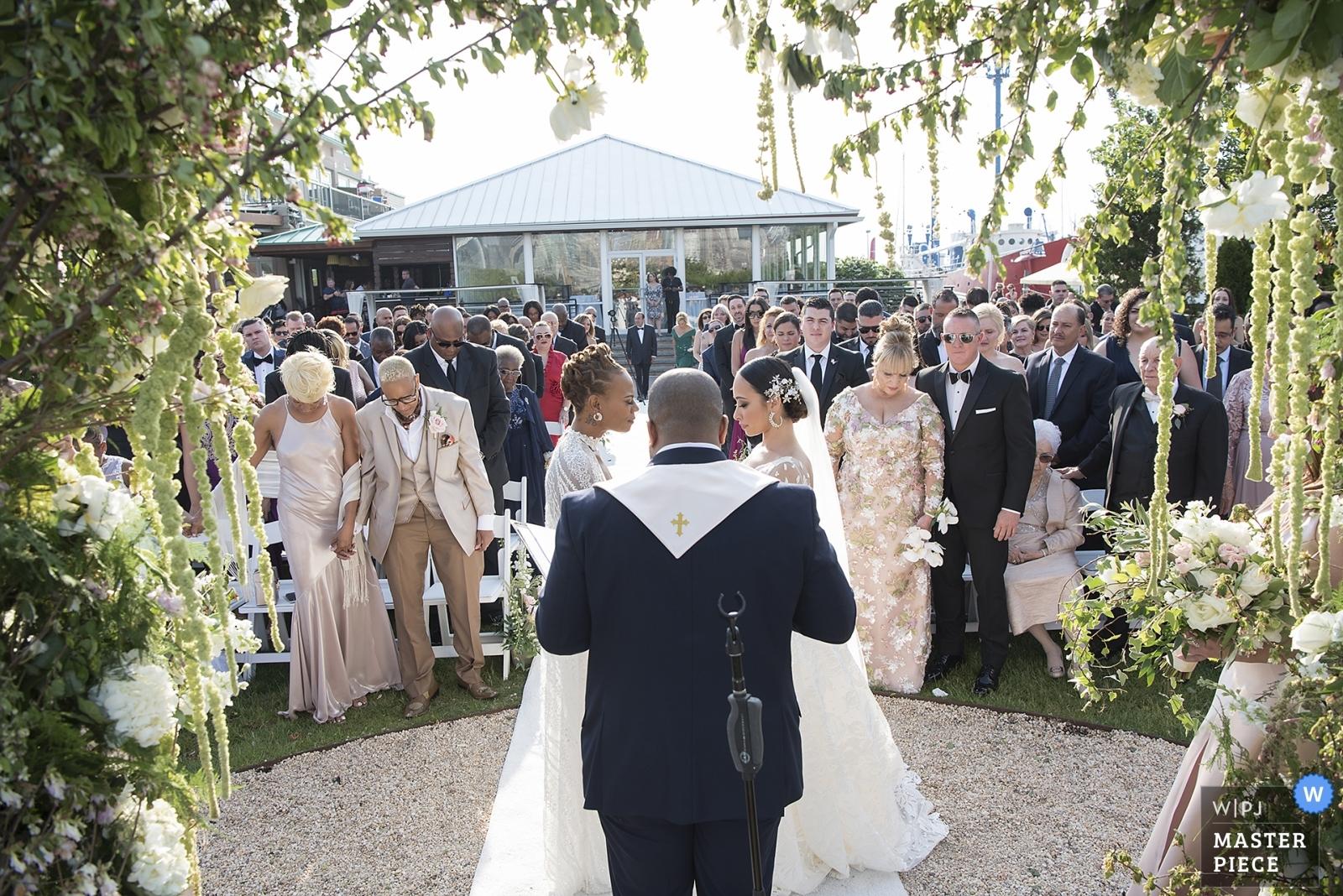 brides during wedding ceremony - Hoboken, New Jersey Wedding Photography -  | Liberty House