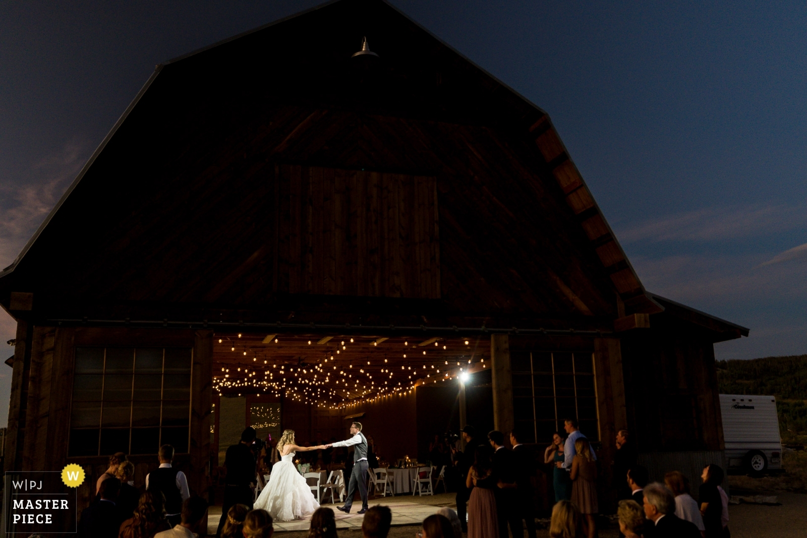 Bride and groom share first dance at sunset - Denver, Colorado Wedding Photography -  | Reception Venue