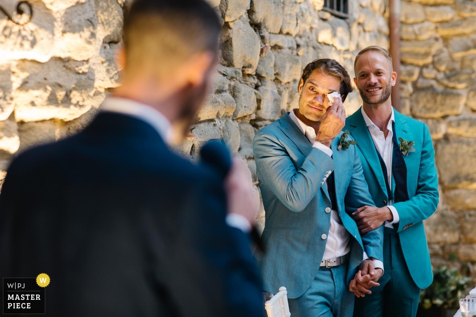 Grooms during speech - Portofino, Genoa Wedding Photography -  | Castello di Rosciano, Umbria, Italy