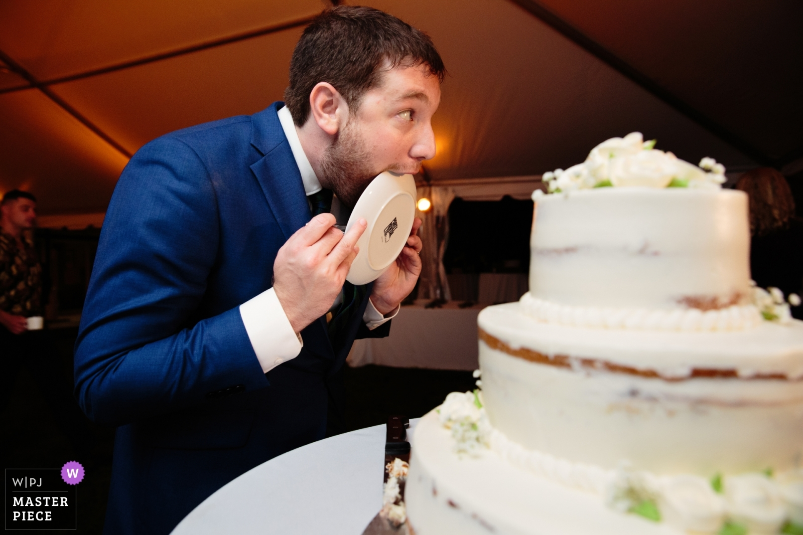 Groom Licks The Plate, The groom licks the plate!!!!! - New York - Long Island, United States Wedding Photography -  | Northport Long Island family home, Reception