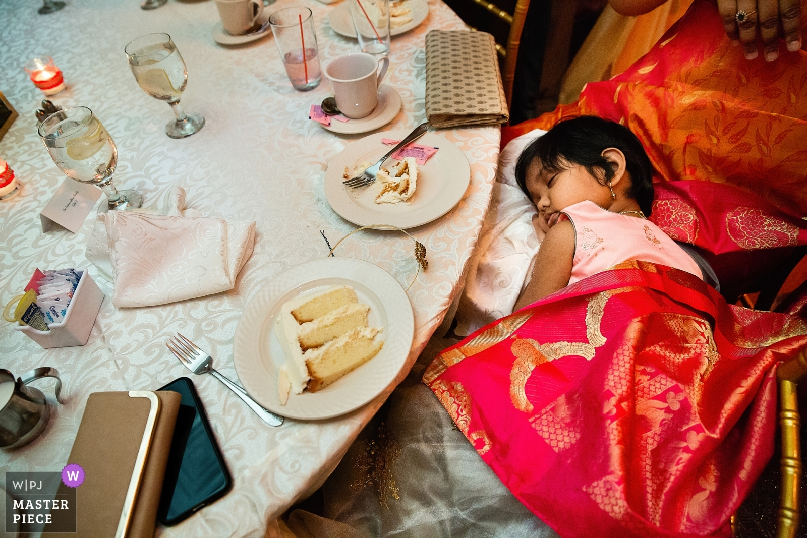 Girling sleeping at reception table - New York - Long Island, United States Wedding Photography -  | Soundview Caterers, Bayville Long Island, Reception