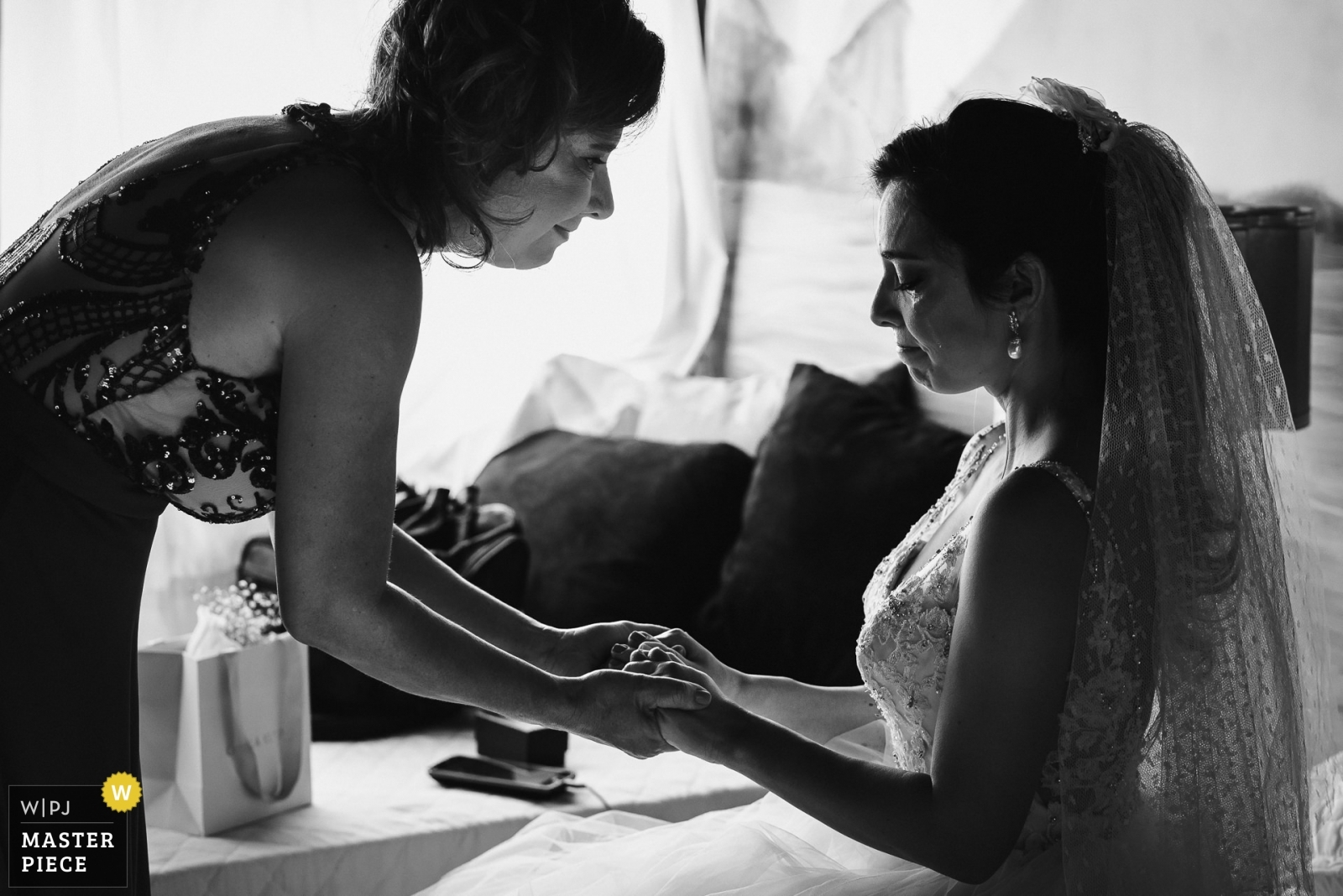 The last moment between mother and daughter before the ceremony. The connection between them is unique and the emotion takes over. - Rio de Janeiro, Brazil Wedding Photography -  | Solar da Palmeiras - Ilhada Gigóia/RJ - Brazil