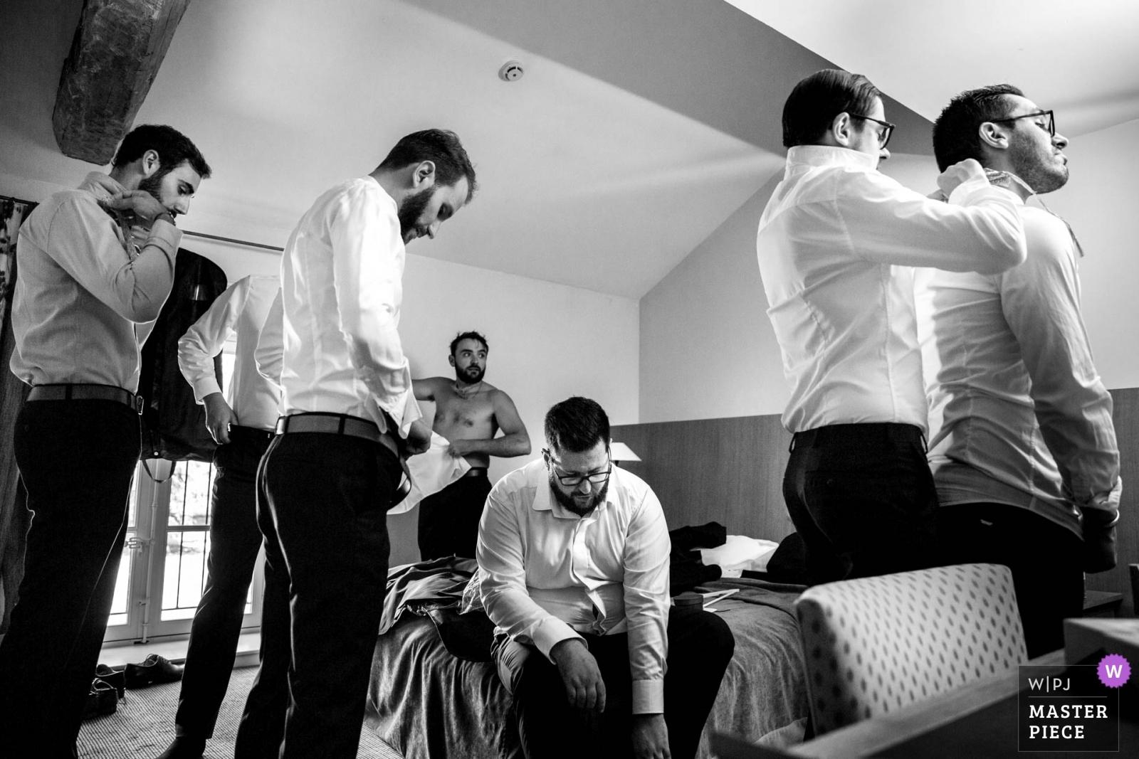 Getting ready, groom with his friends - Auvergne-Rhône-Alpes, France Wedding Photography -  | Château des broyers