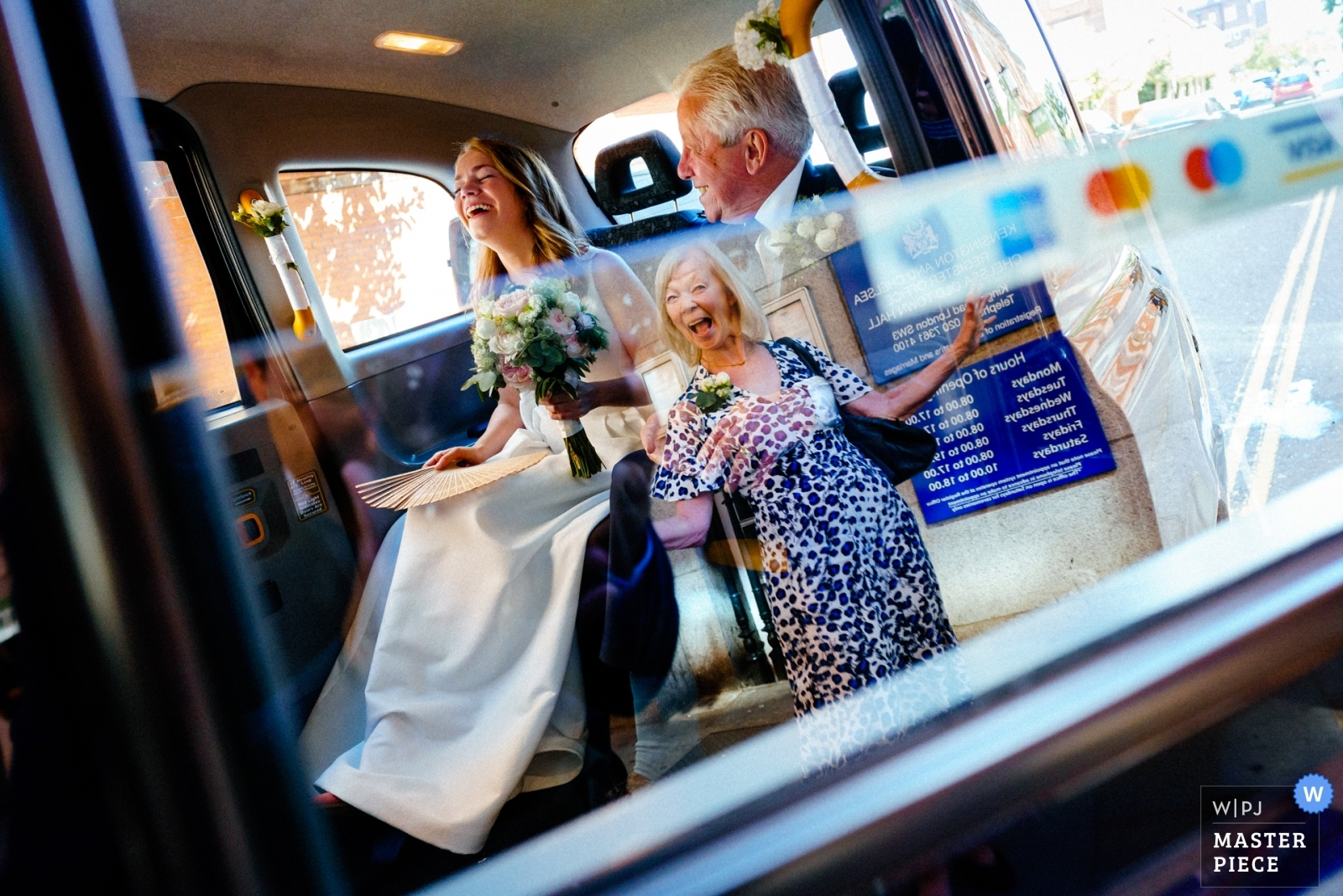 Bride and Father are greeted by her Mother at Chelsea Old Town Hall - Hertfordshire, England Wedding Photography -  | Chelsea Old Town Hall, London, UK