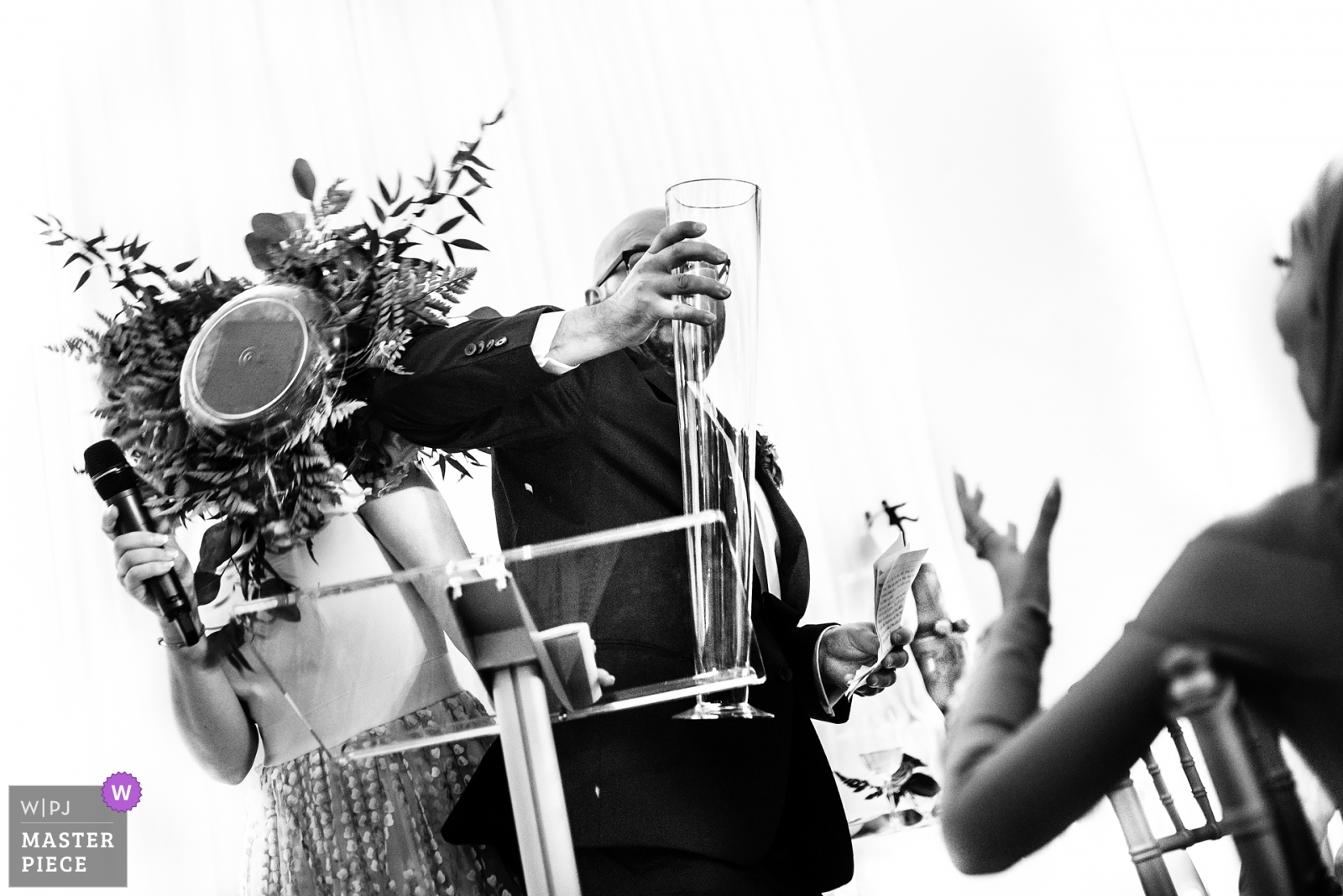 The groom make the flower fall down during the thank you speech - Toronto, Ontario Wedding Photography -  | Cambridge Butterfly Conservatory, Cambridge, ON