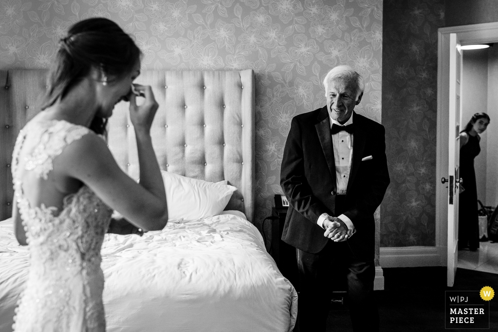 Bride seeing her dad for the first time on the wedding day with her junior bridesmaid sneaking a peak. - New Jersey, United States Wedding Photography -  | Hotel
