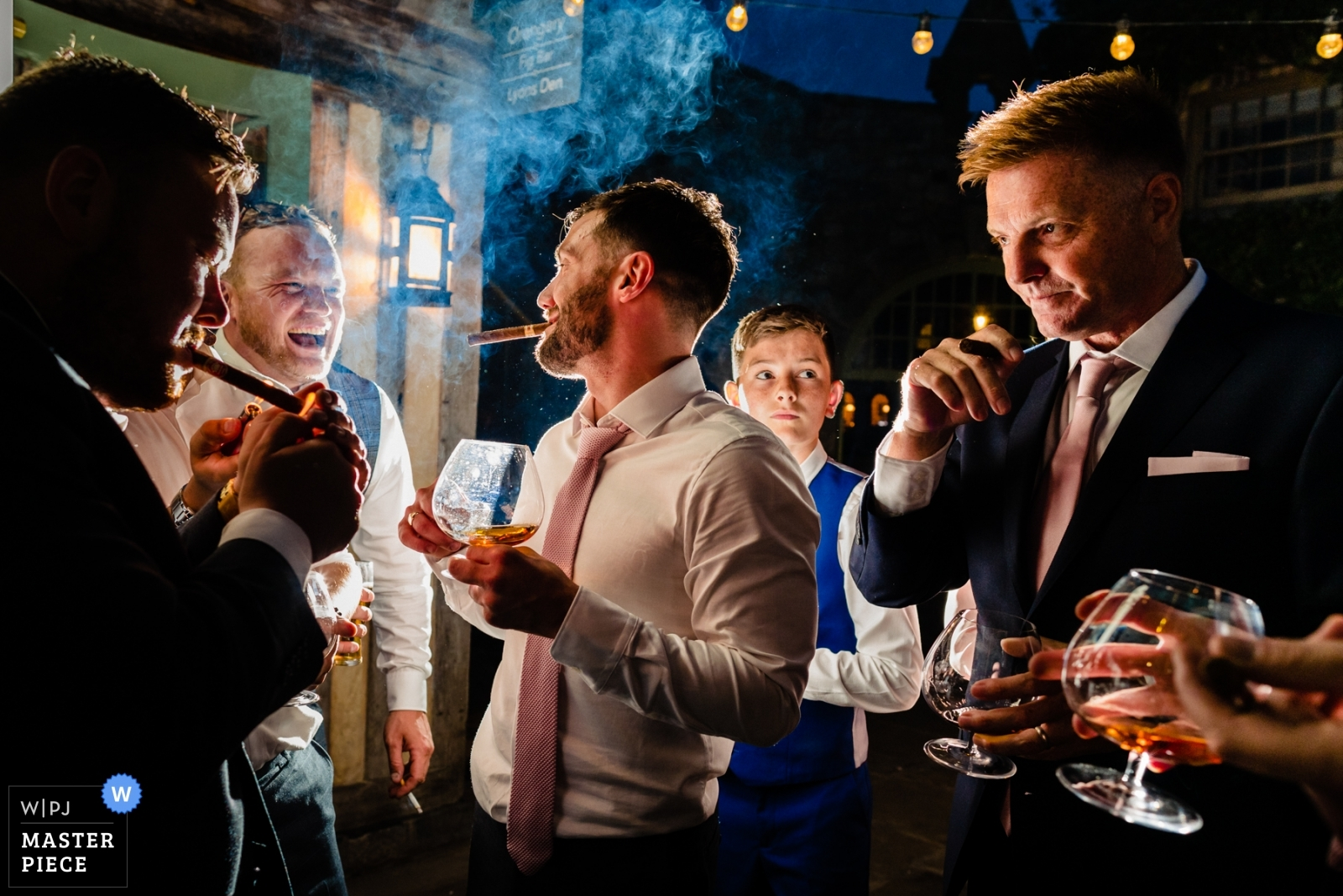 Groomsmen's after-dinner whiskey and cigars - Dublin, Leinster Wedding Photography -  | Cliff at Lyons, Ireland