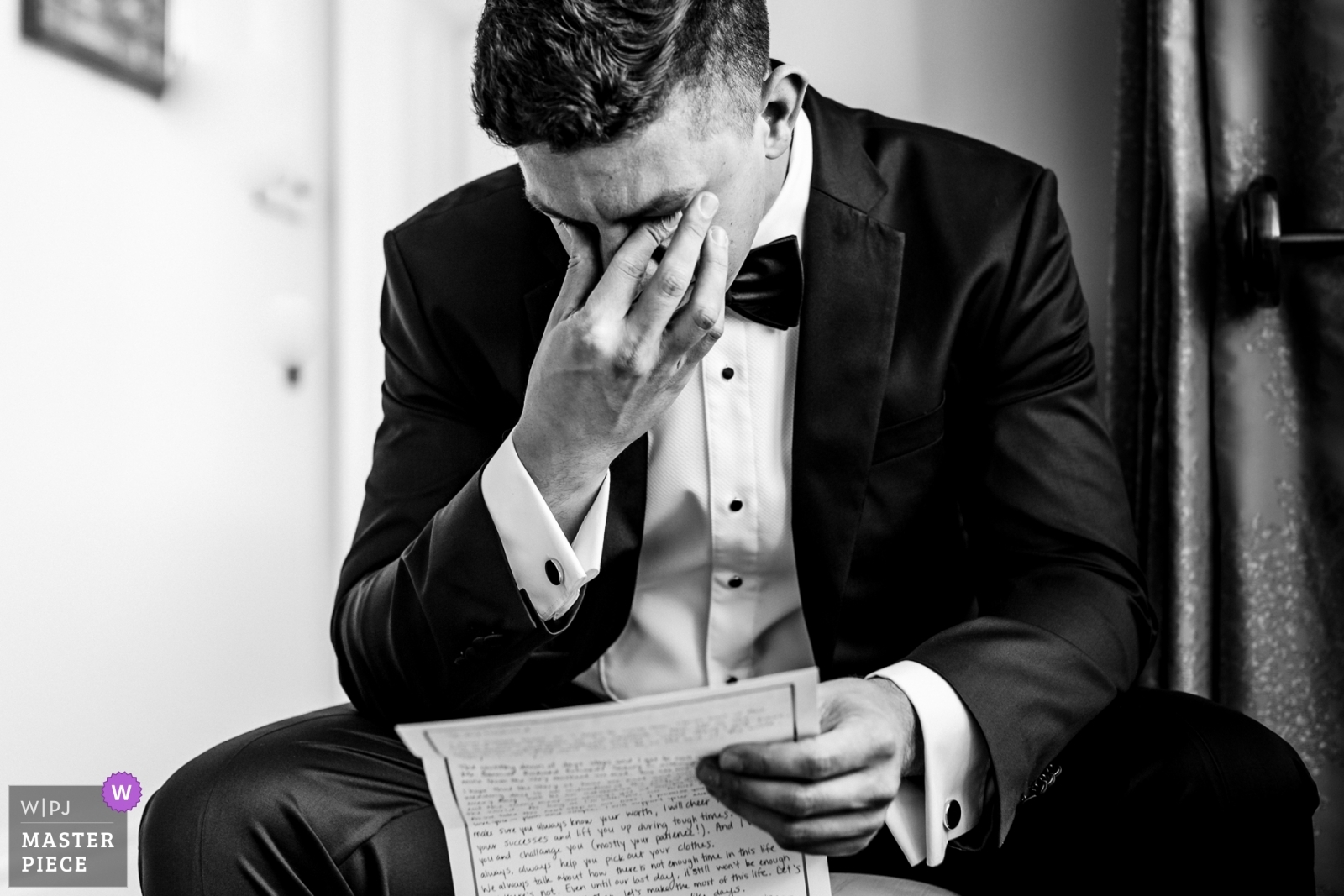 Emotional groom reading letter from his bride on the morning of their wedding - Dublin, Leinster Wedding Photography -  | Wilton Castle, Ireland