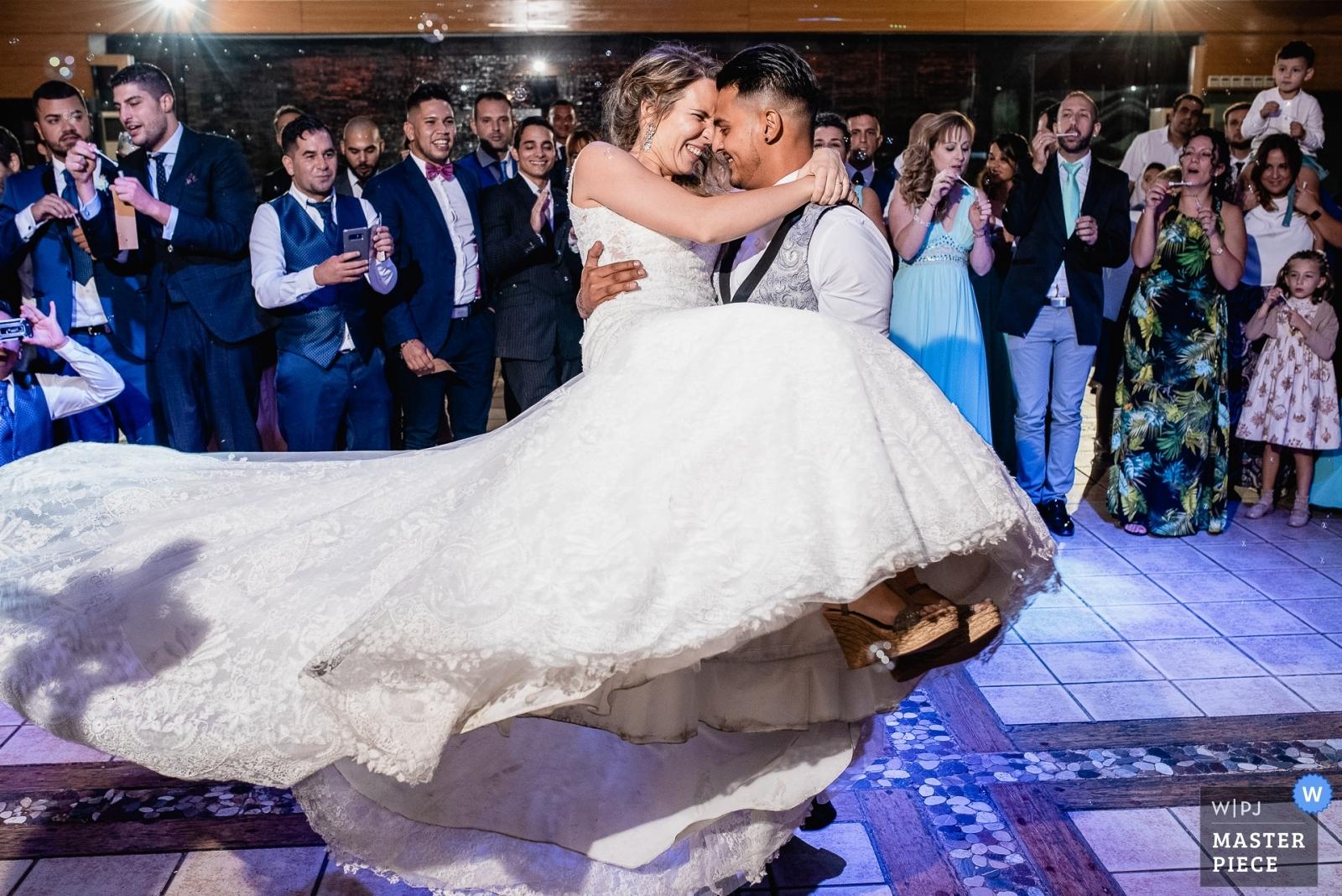 Bride and groom first dance - Madrid, Spain Wedding Photography -    Mirador de Cuatro Vientos