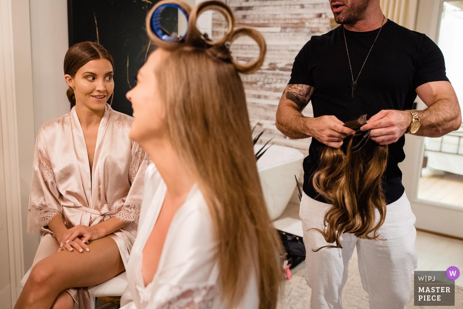 fake hair to be added to bride's real hair - Missoula, Montana Wedding Photography -  | Foster Creek Farm, Belgrade, Montana
