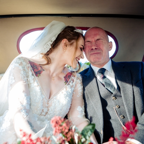 Bride & her tearful father arriving for the ceremony. - Stirlingshire, Scotland Wedding Photography -  | Reception Location