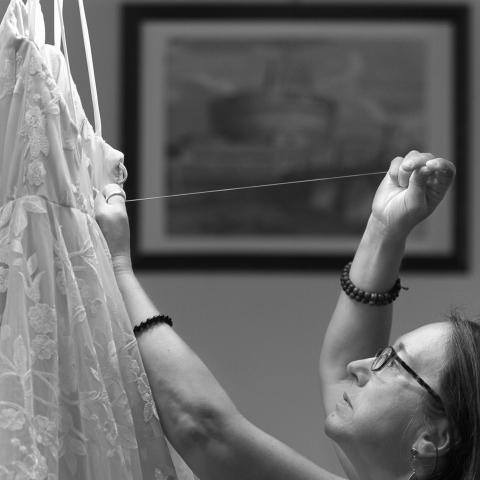 bride's mom repairing the dress at last moment - Arezzo, Tuscany Wedding Photography -  | Ceremony Location