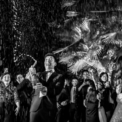 The groom opened the champagne and sprinkled it all over the sky. - Taipei, Taiwan Wedding Photography -  | Castello di Torcrescenza Roma Nord, Italy